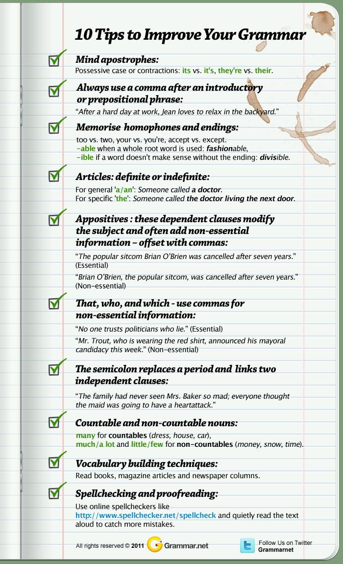 infographics - 10 Tips to Improve Grammar